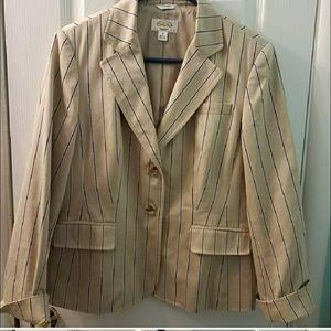 Talbots tan ass navy pinstripe blazer jacket